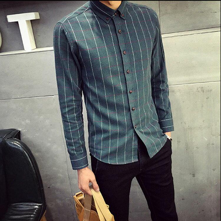 Mao  日韓新品時尚百搭磨毛格子型男修身長袖襯衫