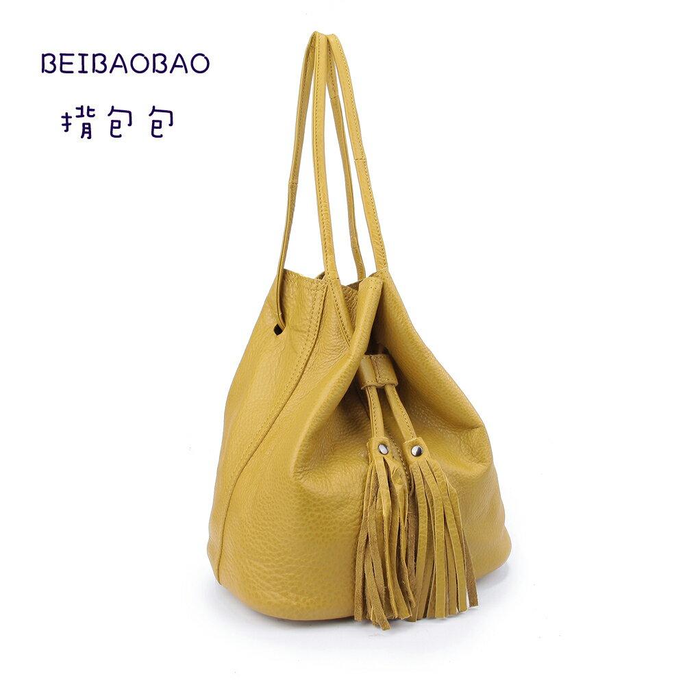 【BEIBAOBAO】法式甜美真皮流蘇水桶包(檸檬黃) 0