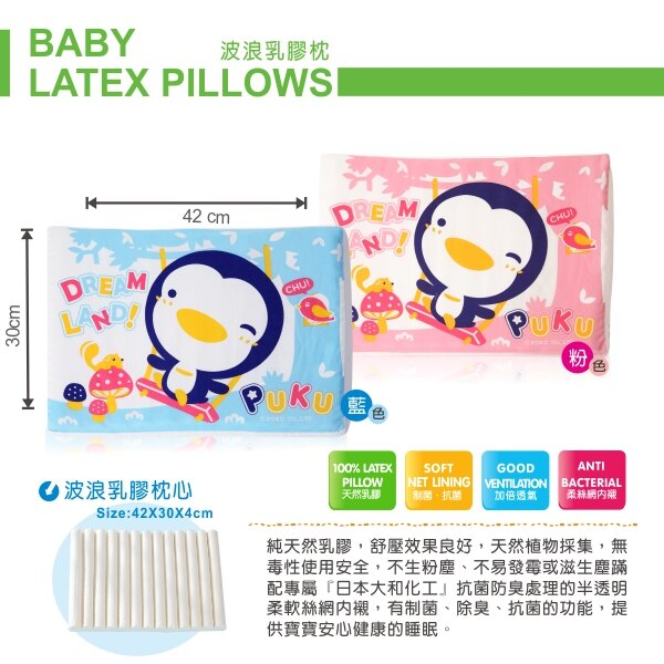 『121婦嬰用品館』PUKU 波浪乳膠枕 - 藍 2