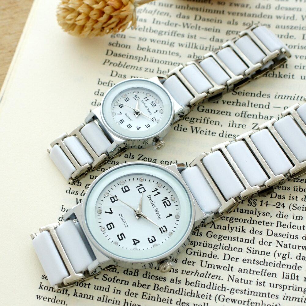 Daniel Wang 3146 氣質美氛多角度切割鏡面仿陶瓷男錶/女錶-數字/晶鑽款 2