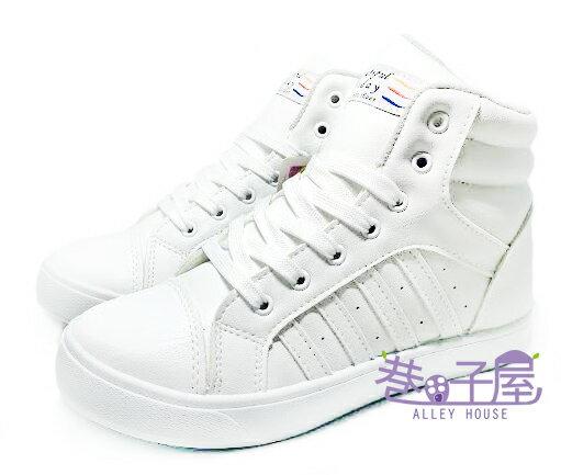 【巷子屋】女款經典小心機內增高運動休閒鞋 5cm [18039] 白 MIT台灣製造 超值價$298