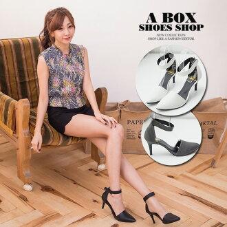 格子舖*【KT8151】MIT台灣製 韓版性感時尚繞踝 魔鬼氈穿拖 7.5CM細高跟鞋 尖頭包鞋 3色