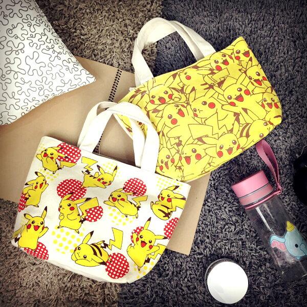 PGS7 日本神奇寶貝系列商品 - 神奇寶貝 皮卡丘 系列 帆布 造型 便當袋 收納袋 手提袋 購物袋