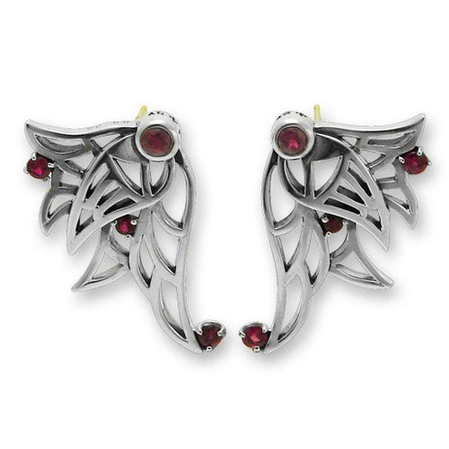 【海外訂購】【KONRON】闇夜天使紅寶石純銀耳環(KRE0653-R  0329180000) 1