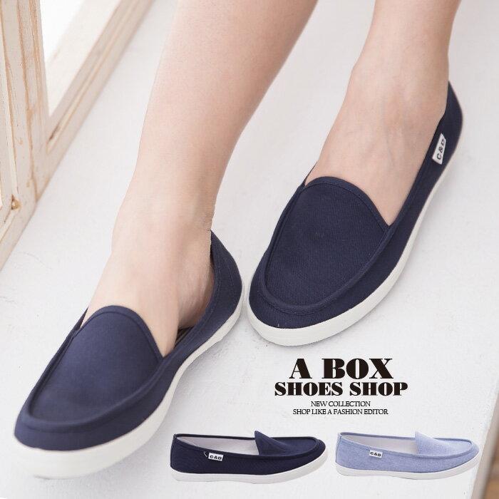 格子舖*【KBC639】MIT台灣製 簡約經典帆船造型 舒適牛仔布面/帆布鞋 懶人鞋 2色 0