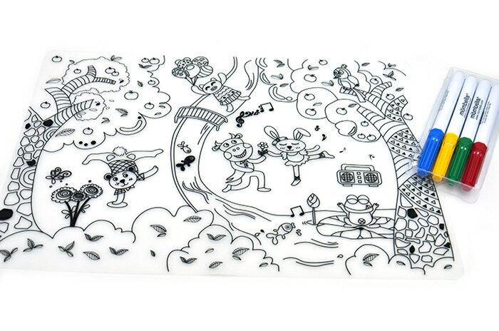 【安琪兒】英國【Mombella】環保塗鴉餐墊(含四色筆) 1