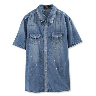 【MODE MAN】個性潑墨刷色雙口袋短袖牛仔襯衫