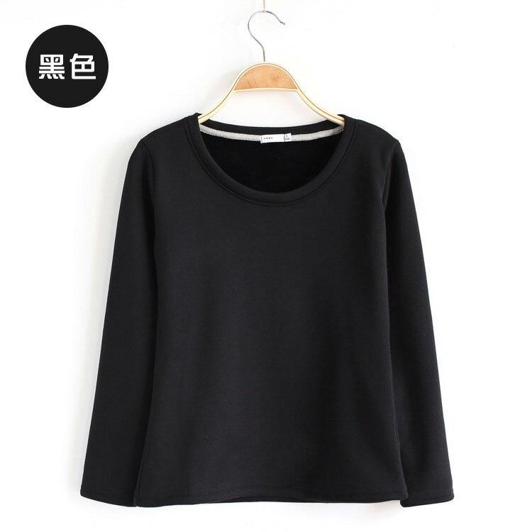 T恤 素色刷毛保暖簡約長袖T恤【MZTX1531】 BOBI  08/18 2