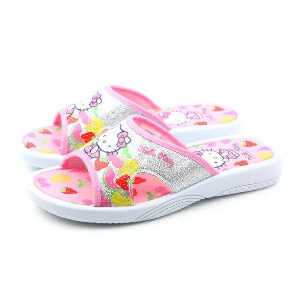 Hello Kitty 凱蒂貓 KITTY 拖鞋 童鞋 銀色 童 no725