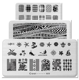 50%OFF【L09125NA】長方形多元素美甲印花鋼板 美甲印章工具 1-24款