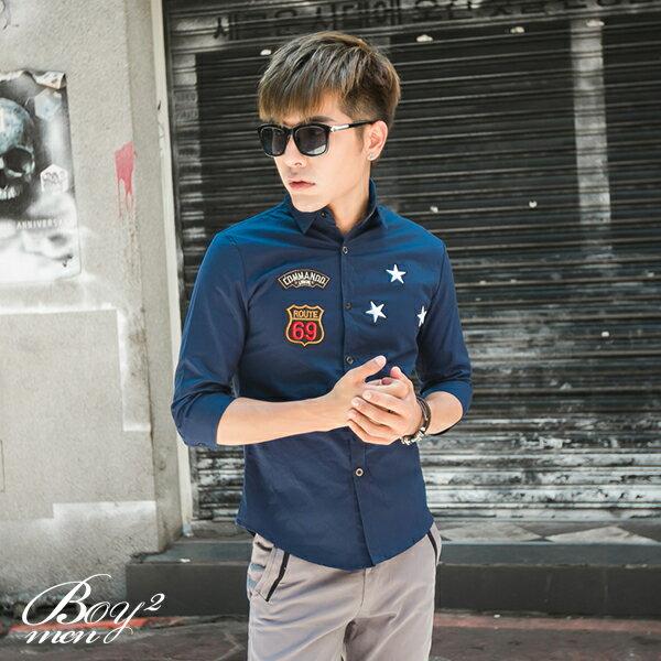 ☆BOY-2☆ 【PPK87015】美式潮流星星電繡七分袖襯衫 5