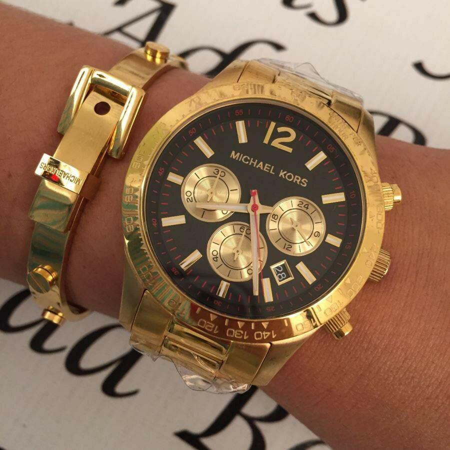 【限時8折 全店滿5000再9折】Outlet正品代購 Michael Kors MK 金屬金色 男女款 三眼 計時 手錶 腕錶 MK8246 1