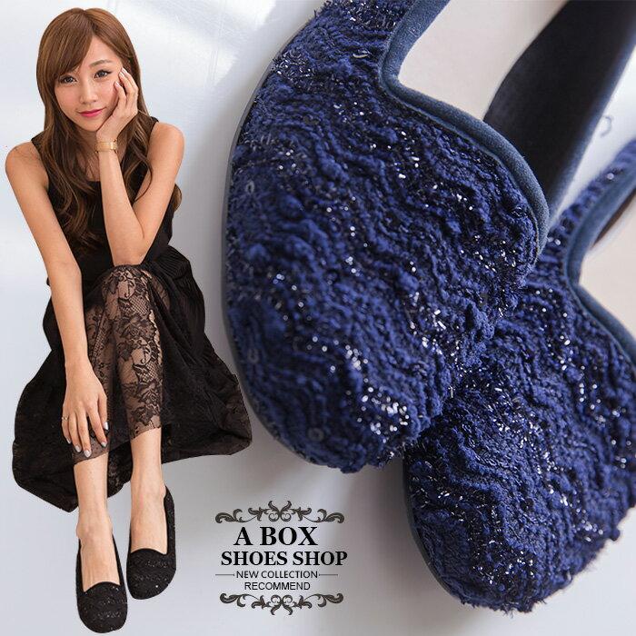 格子舖*【AI632】MIT台灣製 低調金蔥混色毛呢 圓頭平底包鞋 樂福鞋 懶人鞋 2色 0
