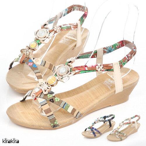 涼鞋 SALE 閃耀水鑽金屬編織拼色交叉帶楔型涼鞋~011600197~