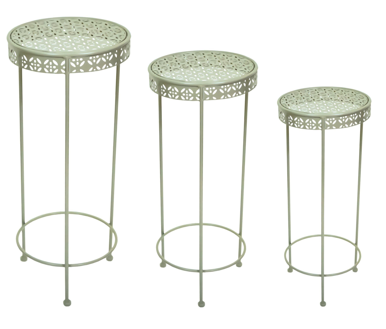 east2eden Cool Grey Metal Flower Pot Stand Table Garden