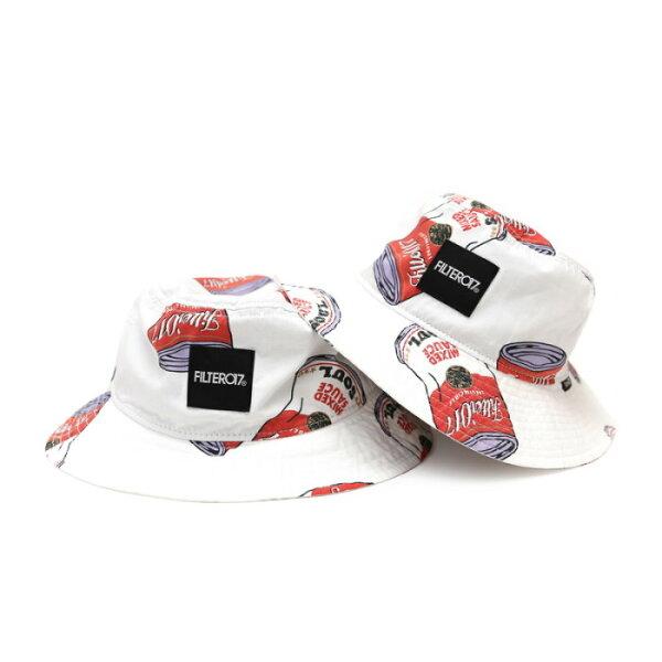 ►法西歐_桃園◄ Filter017 Bucket Hat Soup Can 湯罐 翻玩 罐頭 滿版 圖騰 平頂 漁夫帽 白