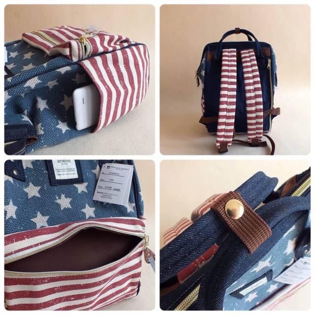 【日本anello】新款-五角星美國國旗亞麻細紋帆布雙肩包 《大號》 1