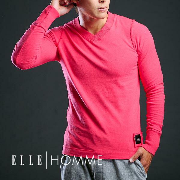 ELLE 厚綿純色V領長袖衫-六色 E83208【中揚精品】(百貨專櫃正品)