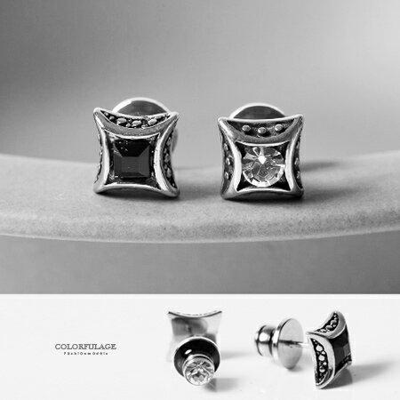 耳環 個性潮流立體方型鑲鑽穿式貼耳白鋼耳針 具抗過敏 柒彩年代【ND252】鎖螺絲式固定不易掉 0