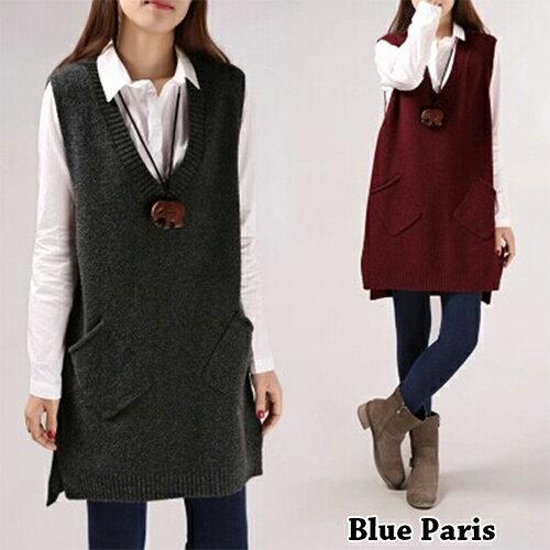 毛衣 - 大V領前短後長大口袋無袖針織衫【29157】藍色巴黎《5色》現貨 + 預購 0