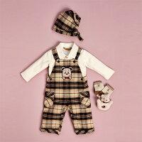 彌月禮盒推薦【金安德森】寶寶禮盒-可愛托腮熊吊帶褲套裝 (彌月禮盒)