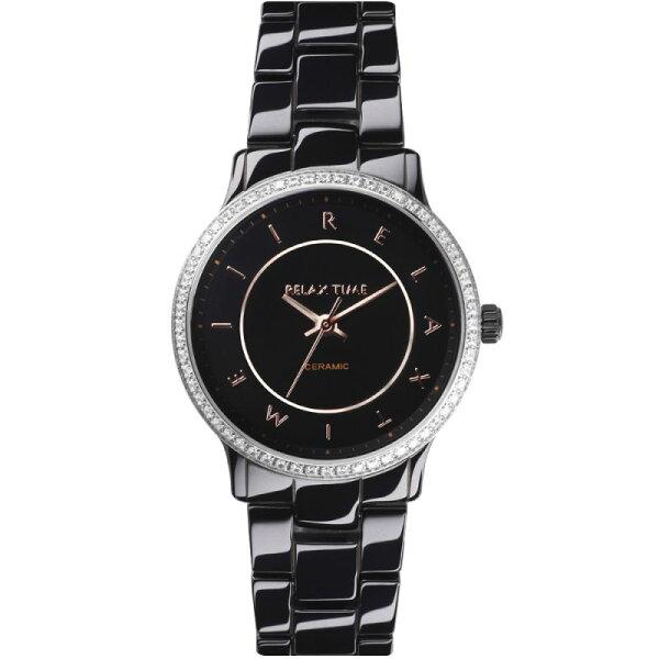 Relax Time  RT-55-11 RT系列迷你纖薄黑陶瓷腕錶/黑面30.5mm