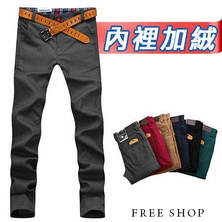 彈性窄管褲 Free Shop【QBJ1318】韓版皮標口袋內刷毛舒適彈力窄版休閒長褲發熱褲 六色 加大尺碼