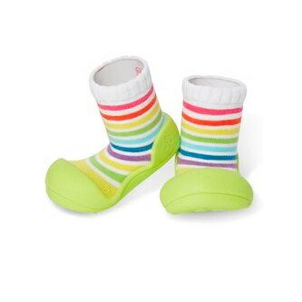 【本月特價$599】韓國【Attipas】快樂腳襪型學步鞋-彩虹綠底 - 限時優惠好康折扣
