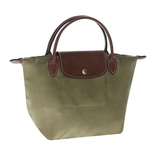 [短柄S號]國外Outlet代購正品 法國巴黎 Longchamp [1621-S號] 短柄 購物袋防水尼龍手提肩背水餃包 抹茶綠 0