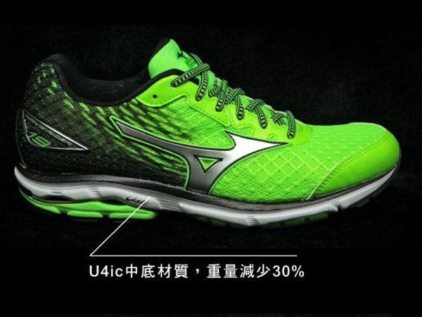 Mizuno美津濃 男款慢跑鞋 WAVE RIDER 19 一般型 -翠綠黑 2