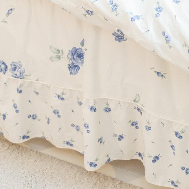 藍莓花園 雙人鋪棉床裙三件組 100%精梳棉 台灣製 2