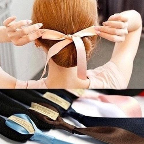 PS Mall 韓國最新海綿寶寶 蝴蝶結綁帶丸子頭海綿盤髮器 DIY髮器 髮包【H027】