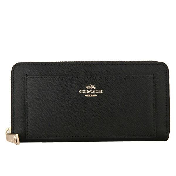 COACH F52648 美國正品質感防刮真皮拉鍊長夾女長款錢包拉鏈手拿包女士皮夾