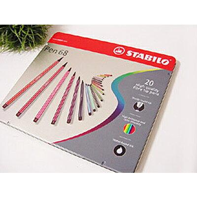STABILO鵝牌 Pen 68 經典款式水性彩色筆 (1.0mm) 鐵盒 20色入款 6820