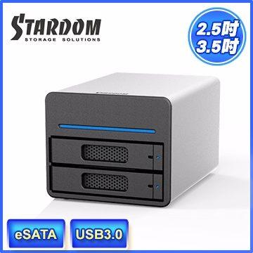 STARDOM ST2-SB3 3.5吋/2.5吋 USB3.0/eSATA 2bay磁碟陣列設備(和順電通) [天天3C]