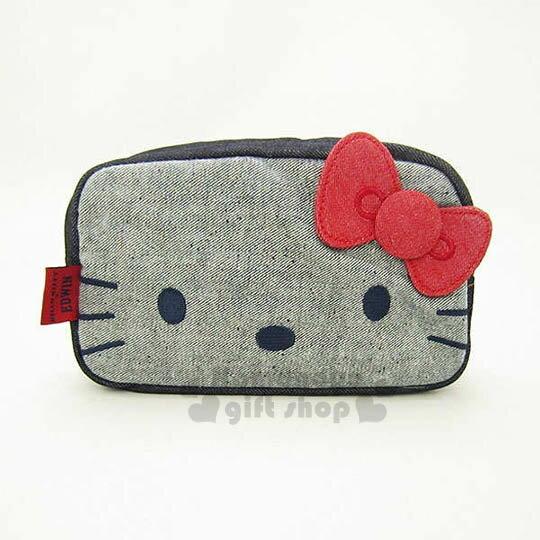 〔小禮堂〕Hello Kitty x EDWIN 棉質化妝包~深藍.大臉.牛仔布紋~