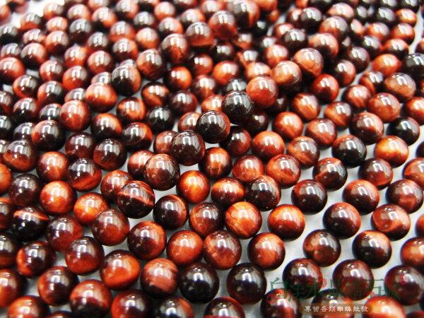白法水晶礦石城 南非 天然- 紅虎眼石 6mm 礦質 -珠子顏色漂亮 - 串珠/條珠 首飾材料