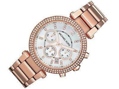 【限時8折 全店滿5000再9折】MichaelKors MK 玫瑰金鑲鑽 三環計時手錶腕錶 MK5491 美國Outlet 正品代購 2