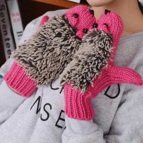 針織手套 萌可愛刺蝟造型針織連指手套【PUH855】 BOBI  11/17 0