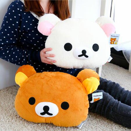 正版拉拉熊頭型抱枕 牛奶熊 午安枕 午睡枕 抱枕 枕頭 靠墊 娃娃【B061340】