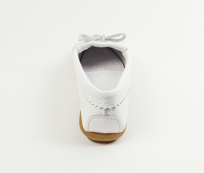 【Minnetonka 莫卡辛】白色 - 磨砂牛皮、豆豆底、流蘇、蝴蝶結、串珠、雷鳥二代 4