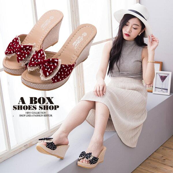 格子舖*【ADGF2078】日韓系可愛絨布蝴蝶結 防水台前3後8.5CM楔型增高拖鞋 2色