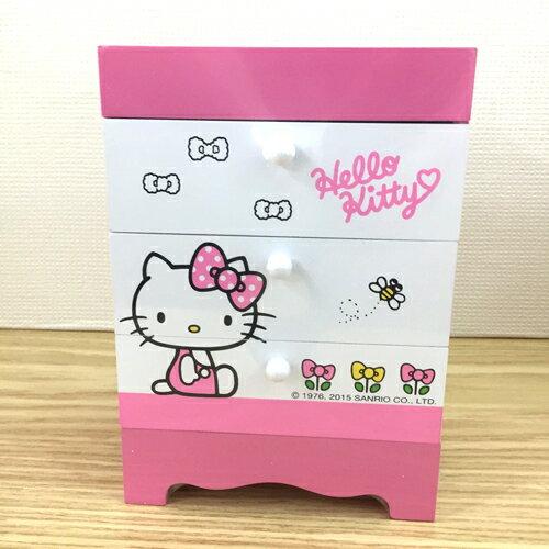 【真愛日本】15092400003桌上型三層收納盒-蜜蜂粉  三麗鷗 Hello Kitty 凱蒂貓  三層  收納盒  收納櫃  正品
