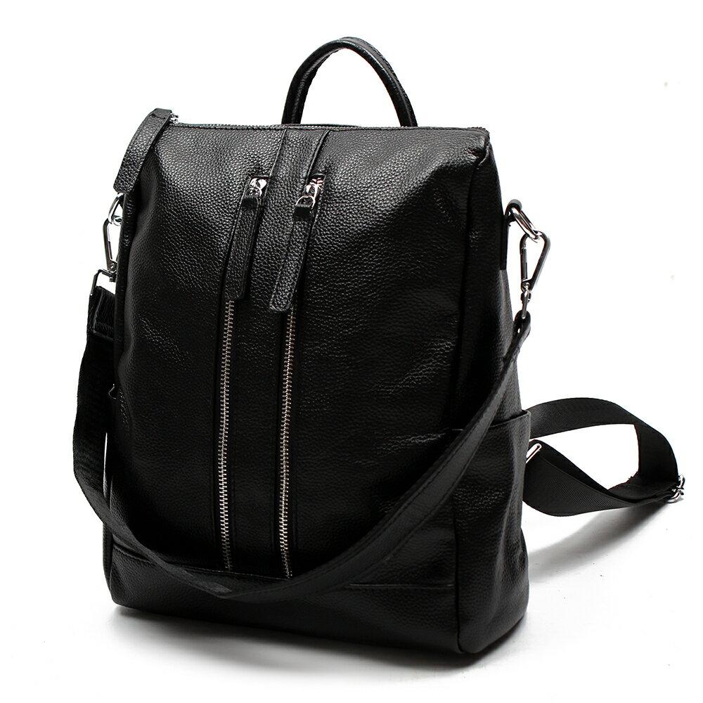【BEIBAOBAO】韓劇同款時尚真皮後背包(時尚黑) 1