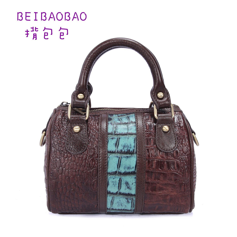 【BEIBAOBAO】米蘭風尚真皮壓紋波士頓包 (藍咖色 共三色) 0