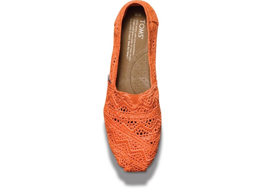 [Anson king]國外代購TOMS 帆布鞋/懶人鞋/休閒鞋/至尊鞋 蕾絲系列  橘色 女款 3