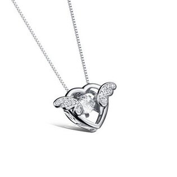 最新款日韓時尚新品愛心天使精美鑲鑽鍍白金鍍18K金女款項鍊
