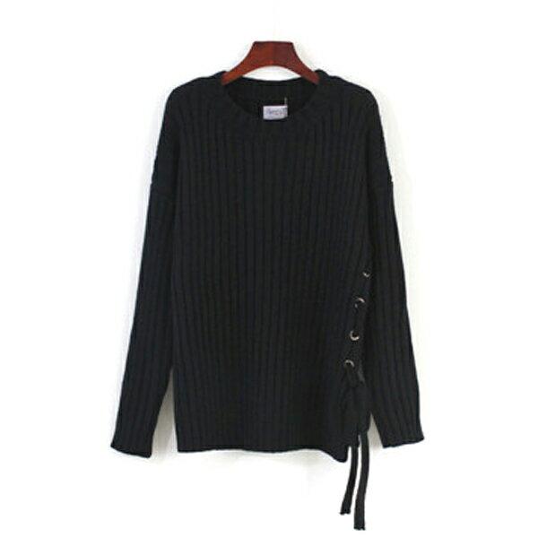 針織衫 正韓羅紋織紋側邊穿繩打結毛衣上衣 ~83~24~82104~ibella 艾貝拉