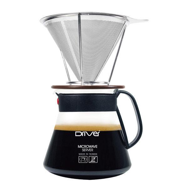 Driver不鏽鋼咖啡濾杯濾網+承架+微波玻璃壺免用咖啡濾紙-大廚師百貨