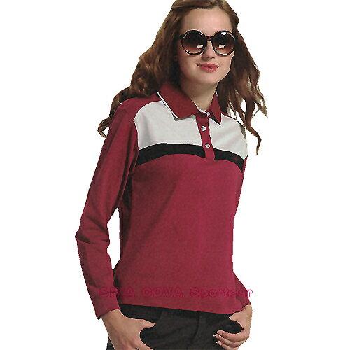 【義大利 SINA COVA】女版運動休閒吸濕排汗長POLO衫(棗紅#SW812A) - 限時優惠好康折扣